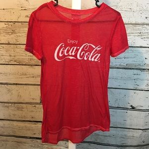 3/$20 Coca Cola Red Sheer Tee Shirt Size Small